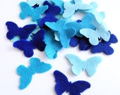Felt Butterflies Blue, Set of 24 pieces.