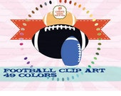 Football clip art sport clipart foot ball digital scrapbooking for party tailgating invitations : c0278 v301 black