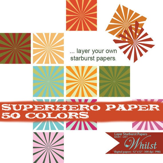 starburst digital paper starburst clip art super hero scrapbooking op art : b0201 & v301 black white