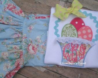 Vintage inspired Easter Basket  Ruffle shirt or angel sleeve shirt