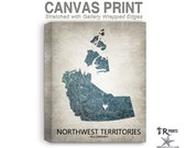 NorthWest Territories Canada Map Stretched Canvas Print - Home Is Where The Heart Is Love Map - Original Personalized Map Print on Canvas