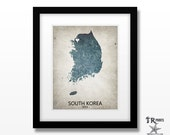 South Korea Map Print - Home Is Where The Heart Is Love Map - Original Custom Map Art Print Available in Multiple Size and Color Options