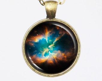 Planetary Nebula Necklace - NGC 2818 - Cosmic Pendant Jewelry - Galaxy Pendant Series (G026)