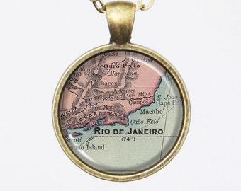 Personalized Map Necklace - Rio de Janeiro, Brazil -Vintage Map Pendant Series