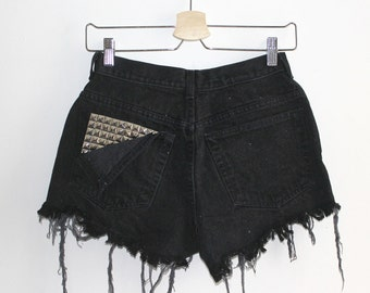 Denim Cutoff Shorts - Torn Down Back Pocket, Studded Slashed and Frayed Denim Black Shorts
