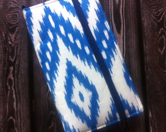 Blue Ikat iPhone wallet, iPod wallet with removable gel case