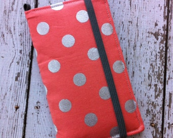 Coral and silver polka dot iPhone 3, 4, 4S, 5, iPod Touch 4G, 5 wallet with removable gel case