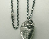 Raven Crow Anatomical Heart Necklace, Sterling Silver and Stainless Steel