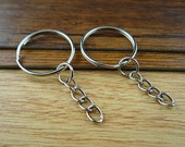 50pcs Nickel Tone Iron Key Ring 25mm with Chain