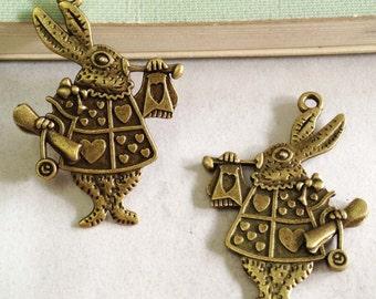 15pcs of Rabbit Charms Antique Bronze Mr. Rabbit Charm Pendants 25x36mm F204-6