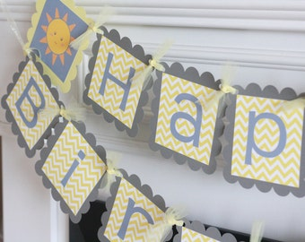 Happy Birthday Little Sunshine You Are My Sunshine Grey Yellow Chevron Theme Banner - Party Pack Specials - Free Ship Over 65.00