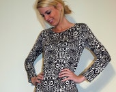 Tribal Print Jersey Dress Long or 3/4 Sleeves - Brown and White