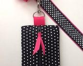Dog Poop Bag Dispenser and Holder in Black Polka Dot & Hot Pink Lining / Doggie Poop / Doggie Waste / Doggie Mess Bag Holder
