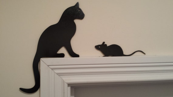 Cat And Mouse Silhouettes Door Topper Window Topper Wall