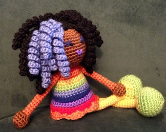 Crochet African American Doll in Rainbow Colors, Plush curls twists dreads Locks Natural Black Hair Stuffed Toy Baby Girl Gift MADE TO ORDER