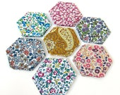 """1"""" Liberty Tana Lawn hexagons plus papers for patchwork"""