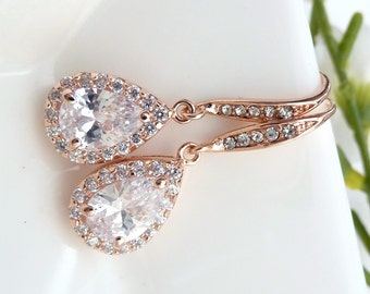 Bridal Earring - High Quality White Clear Peardrop Cubic Zirconia with ROSE GOLD Plated CZ Earrings