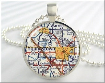Youngstown Map Pendant, Youngstown Ohio Map Necklace, Resin Picture Jewelry, Round Silver, Gift Under 20, Map Charm (646RS)