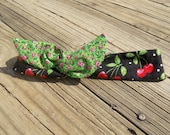 Reversible 50's style wired dolly bow headand - upcycled fabric - Cherries and Green floral