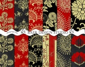 RED and GOLD Digital Paper, Asian Black and Gold Digital Paper, Chinese New Year Digital Paper, Red and Gold Damask Digital Paper, #14102