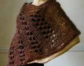 Hand Knit Poncho Hand Knit Mohair Scarf Hand Knit Sweater Hand Knit Deep Brown Rum Raisin Poncho