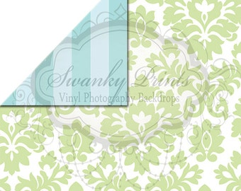 NEW ITEM / 5ft x 5ft REVERSIBLE Vinyl Backdrop / Double sided / Two Tone Blue Sripes Green Damask