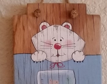 cat hanging hand painted  wooden kitty cat wall hanging accessory