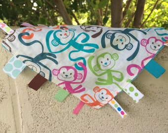 Bright Monkeys Tag Blanket with your choice of Minky // In Stock, READY TO SHIP