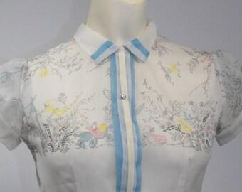 VIntage 1950s FAIRY TALE PRINCESS White Novelty Print Girls Party Dress Fairy Tale Castle Dress Girls 50s Dress Size10 12 Flower Girl Dress