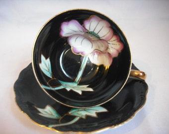 Black Floral Tea cup