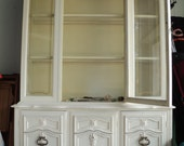 2 Retro French Country Farmhouse or French Provincial Style Cabinets,  A China Cabinet and A Matching Buffet Credenza in Very Good Condition