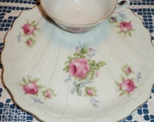 ROSEBUD WAS A SLED!  16 pieces of hand painted rose bud floral designs on fine bone china cups and buffet plates with scalloped edge finish