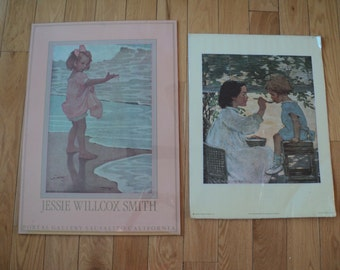 2 Jessie Wilcox Smith Poster Sized Prints from her original paintings,  Wonderful portrayals of Children at Play and in Very Good Condition