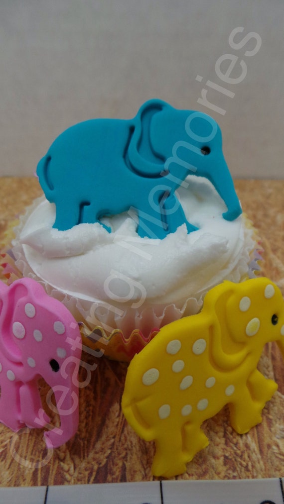 FONDANT ELEPHANT Cupcake Toppers or cake decorations. Edible