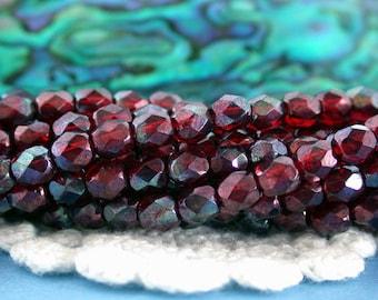 4mm Firepolished Beads, Ruby Vega, Czech Glass Fire Polished Beads, Czech Glass Beads,  CZ-288