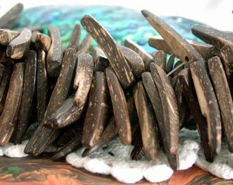 Coconut Shell Beads, Coco Beads, Coconut Stick Beads, Natural Beads, Recycled Beads NAT-137