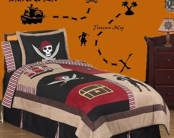 HUGE Pirate Theme Wall Decals Set Includes Ship Pirates Palm Tree & MORE