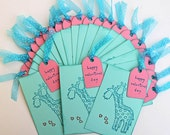 Classroom Valentines with Giraffes, Handmade Mini Notecards for Valentine's Day, Kids' Valentine's Cards, Turquoise Bookmarks