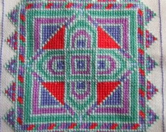 Temari Biscornu Cross Stitch PDF Chart Pattern Instant Download Quick Easy Needlework Embroidery Project Bright Colour