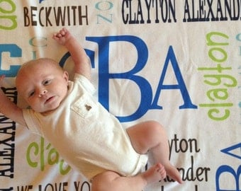 Personalized Baby Blanket Monogrammed Custom Blanket Baby Shower Gift