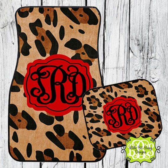 Monogrammed Floor Mats >> Car Mats Animal Print Leopard Personalized by LittleBitSassy