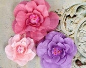 SALE Prima Akran Flowers Rosy - Soft Layered Fabric Flowers w/ Beaded Cluster Centers - 3 pcs