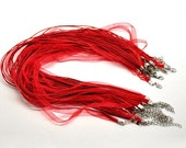 """Red Organza Necklaces 17"""" with 2"""" Extension - 10pcs - Ships IMMEDIATELY  from California - CH364"""