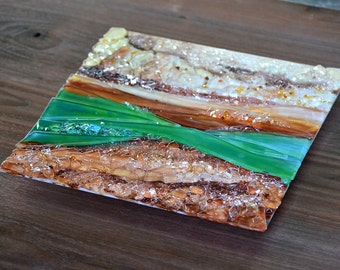 "Fused Glass Wall Hanging Art - Relief Texture on Walnut 22"" by 22""-Made to Order"