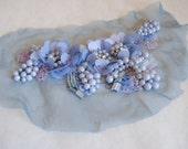 "Applique: 6"" blue/ purple bead, rhinestone embellishment"