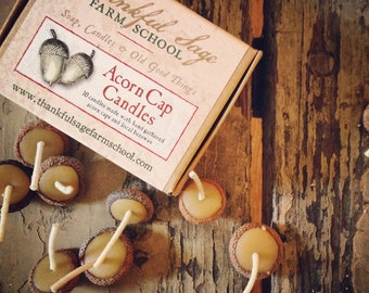 Acorn Cap Candles- 10 pack