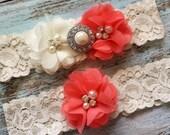 Coral Wedding Garter, Wedding Garter Set, Bridal Garter, Lace Garter, Custom Garter, Toss Garter Included