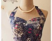 NOW SALE-- Summer dress world map dress navy halter dress vintage inspired dress bridesmaid dress sundress retro dress : xs-xl,custom