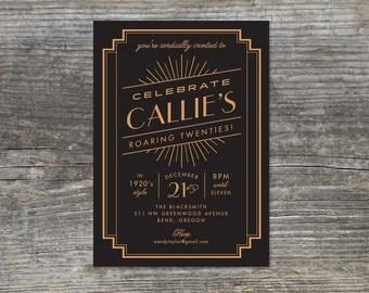 Roaring 20s Birthday invitation, 1920s, Gatsby, Deco Glam (15 cards)