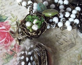 Rosary Chain Birds Nest Feather Bird Czech Leaves and Moss Necklace